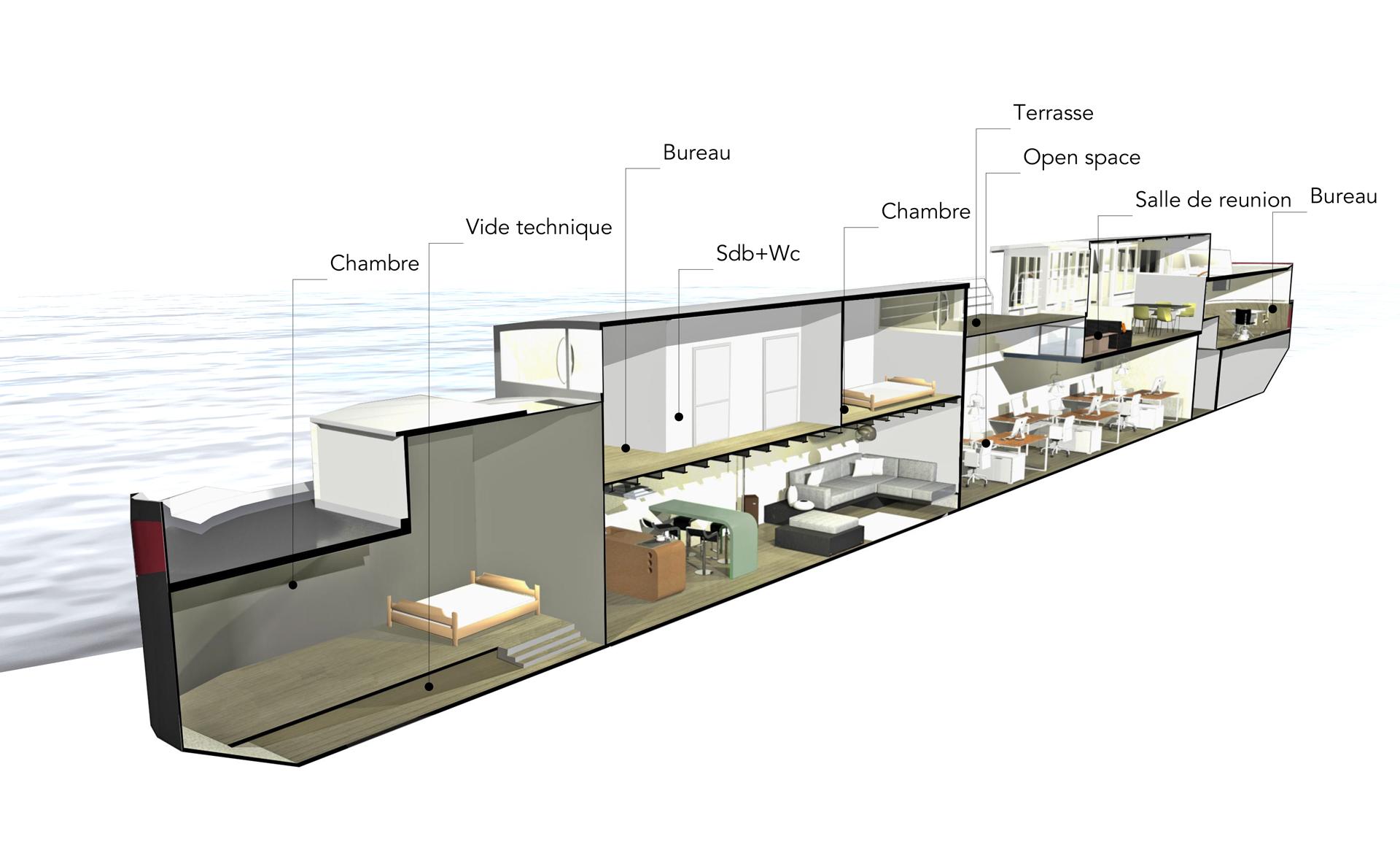 architecte amenagement peniche. Black Bedroom Furniture Sets. Home Design Ideas